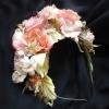 ободок нарядный с цветами, цветы из шелка, цветы ручной работы из шелка