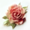 Роза из шелка - брошь