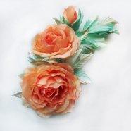 Розы из шелка, брошь ручной работы,