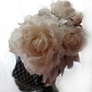 шляпка для невесты, цветы из шелка